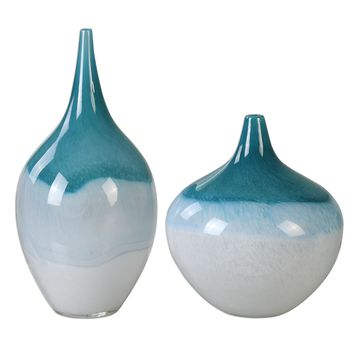 Carla Teal White Vases, Set of 2 by Uttermost