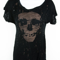 Rare United Rockers Black Skull Rhinestone Hi-Lo Top Shirt XS S