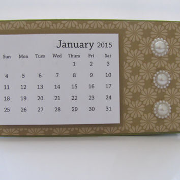 Green Flower Pattern 2015 Desk Calendar, Desktop Calendar,  2015 Calendar