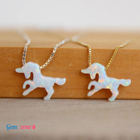 Unicorn Necklace / White Opal Necklace / Unicorn Pendant / Opal Choker / Tiny Unicorn Jewelry / Opal Jewelry / Animal Necklace Gold Unicorn