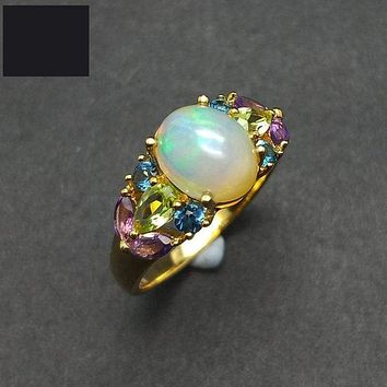 Natural Ethiopian Colorful Opal with Topaz Peridot Amethyst Gemstone Ring