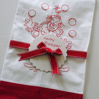 Guest Towel Embroidered RedWork Juggling Circus Clown White Linen Red Linen Border