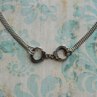 Handcuff Necklace, Handcuff Jewelry, 50 Shades of Grey, Antique Silver, Charm, Double Chain, Rocker, Rihanna Inspired, Short