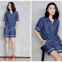 denim shirt women and denim short,short sleeve,casual,cut out,fashion,unique,chic,grunge style.denim suit,women summer clothes.--E0265