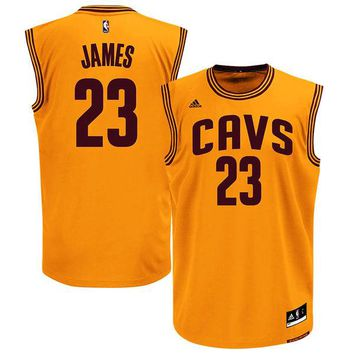 Men's Cleveland Cavaliers LeBron James adidas Gold Alternate Replica Jersey