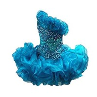 Pinkmerry One Shoulder Blue Short Girls Cupcake Pageant Dresses