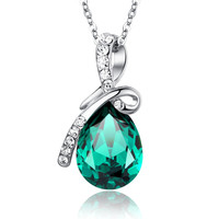 Eternal Love Teardrop Swarovski Elements Crystal Pendant Necklace - Green