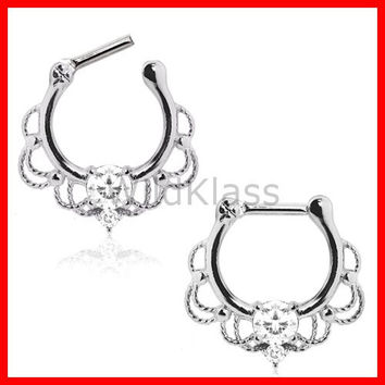 316L Stainless Steel Royalty Ornate Septum Clicker