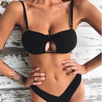 Hollow Out Strappy Bikini New Sexy Push Up Swimsuit Women Bathers Ribbed Two-Piece Suits High Cut Swimwear Female Biquini