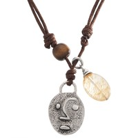 Tribal Face Pendant Cord Necklace