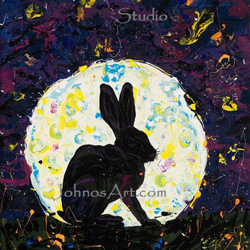 Bunny wall art, Rabbit art, full moon, mignight, modern wall art, by Johno prascak, Pittsburgh artist