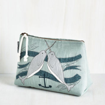 Nautical Give It Your Narwhal Makeup Bag by ModCloth