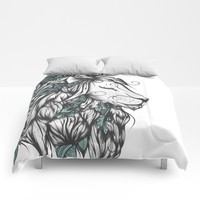 Poetic Lion Turquoise Comforters by LouJah