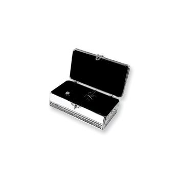 Silver-plated with Crystal Locking Jewelry Box - Engravable Gift Item