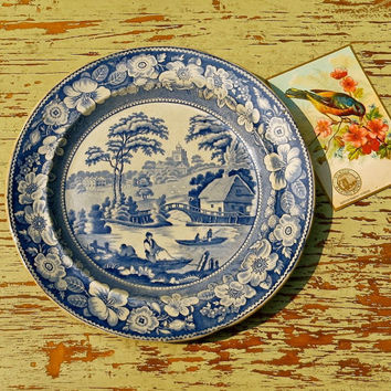 Antique Flow Blue Plate - Wild Rose Pattern - George Jones, England - Blue and White Floral China - Wide Rim - Cottage Decor