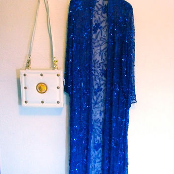 Blue Sequins Long Duster Jacket-Made in India