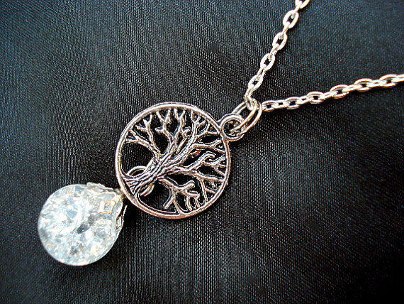 Tree of Life Crystal Boho Crackle Glass Marble Chain Necklace