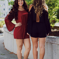 Along the Way Romper - Burgundy