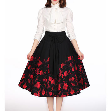 Plus Women's Vintage Inspired 60's Falling Flower with Big Bow Black Flare Circle Statement Skirt