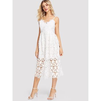 Lace Hollow Out Cami Dress White