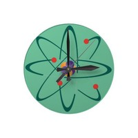 Looking InTime. Atoms On Sea Green Background. Sci Wallclock from Zazzle.com