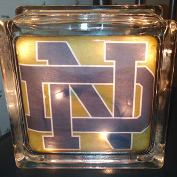 Sports, High School, College University Teams Lighted Glass Block and Home Glass Decor and Gifts