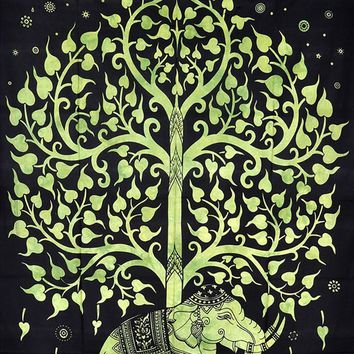 Green Elephant Tree Bohemian Boho India Wall Hanging Tapestry Beach Bed