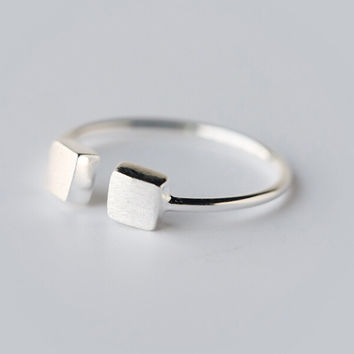 Cute tiny cube 925 sterling silver ring,a perfect gift
