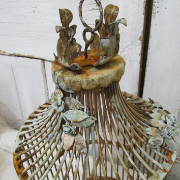 Large antique bird cage toleware up cycled French inspired rusty embellished with metal rose vines Shabby chic home decor anita spero