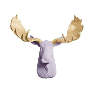 The Alberta | Moose Head | Faux Taxidermy | Lavender + Gold Antlers Resin