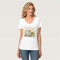 Lovely bicycle with flowers Women's V-Neck T-Shirt