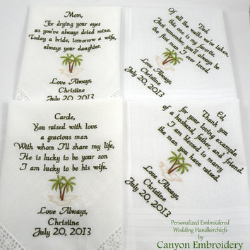 Beach Wedding Wedding Gift Destination Wedding Parents Gift Mom Dad Mother Father of the Bride Groom Palm Tree Set of 4 Canyon Embroidery