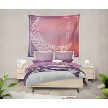 Moon Pastel Dream Night Life Tapestry Wall Hanging Meditation Yoga Grunge Hippie