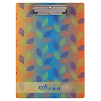 Colorful Doodle Leaves Clipboard