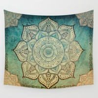Faded Bohemian Mandala Wall Tapestry by inspiredimages