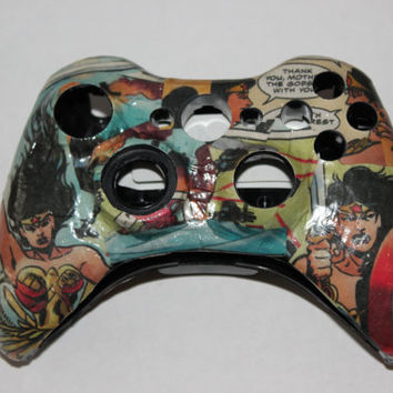 Custom Xbox 360 Comic Book Controller Wonder Woman DC Comics Diana Superheroes