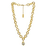 Chunky Cable Chain with a Pearl Pendant Long Necklace