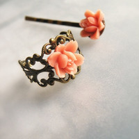 Pink Rose victorian adjustable ring and assorted by lePetitFoyer