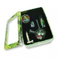 Famous Strains - White Widow - Deluxe Gift Set with Mini Teardrop Glass Bong - Grasscity.com