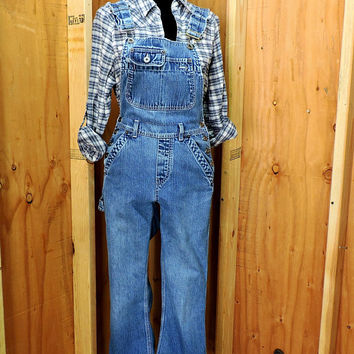 80s womens Overalls XS / Silver Jeans Canada / distressed vintage high waisted overalls / retro grunge over all jeans
