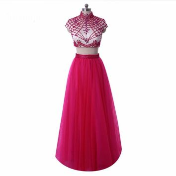 Two Piece Long Dresses A line High neck Beaded Cap sleeve Formal Gowns