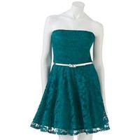 Lily Rose Lace Strapless Dress - Juniors