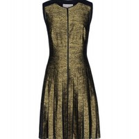 Jason Wu Silk & Leather Metallic Dress - A-Line Dress - ShopBAZAAR