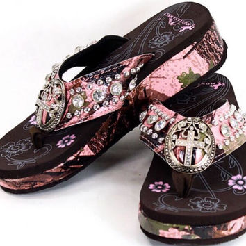 d6a52365ceb515 Pink Camo Montana West Cross Rhinestone from All Things Country