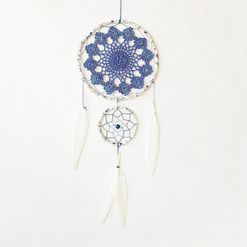 Blue dream catcher, nursery dreamcatcher, girls room decor, double, crochet doily, blue, wall hanging, large, blue flowers, kids, childrens