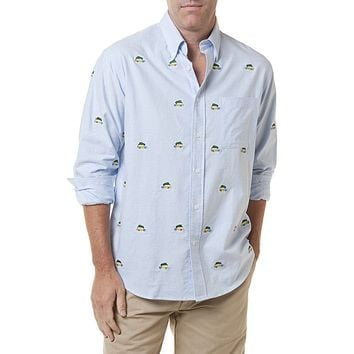 Chase Long Sleeve Oxford in Blue with Embroidered Woody and Christmas Tree by Castaway Clothing - FINALE SALE - FINAL SALE