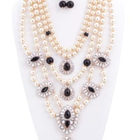 Natalia Simulated Pearl and Jewel Statement Necklace and Earring Set
