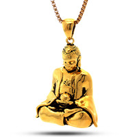 King Ice 14K Gold Meditating Buddha Necklace