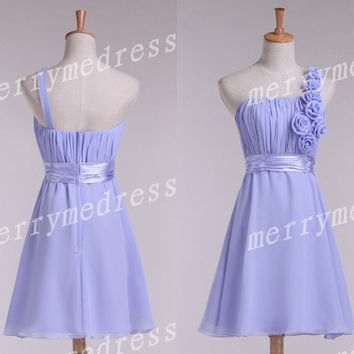 2014 Purple Ruffled Strapless Flowers One-Shoulder Short Bridesmaid Dress,Mini Chiffon Evening Party Prom Dress New Homecoming Dress