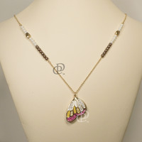 Gold Plated Butterfly Wings Swarovski Crystals with Beaded Chain Necklace